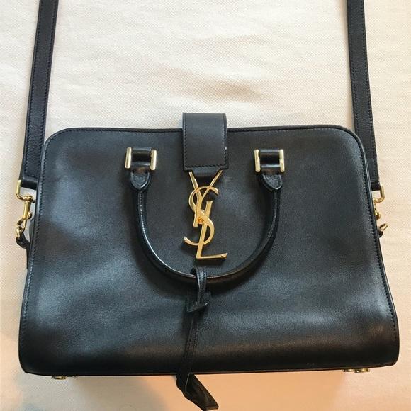 5ca4c45e32 Black YSL crossbody bag with gold hardware